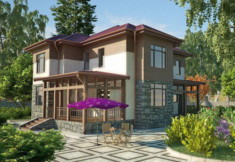 Жилой дом 12х13 из сэндвич-панелей, с террасой, проект сп-15.